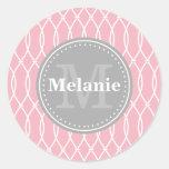 Monograma moderno rosa claro del gris del modelo d pegatina