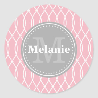 Monograma moderno rosa claro del gris del modelo pegatina redonda