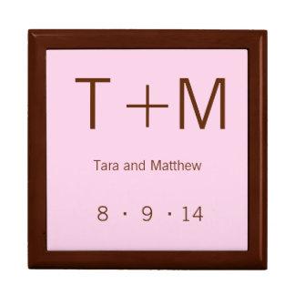 Monograma moderno - rosa y Brown Caja De Recuerdo