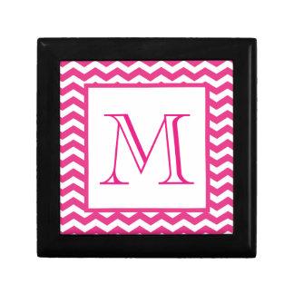 Monograma moderno rosado del personalizado de Chev Caja De Joyas