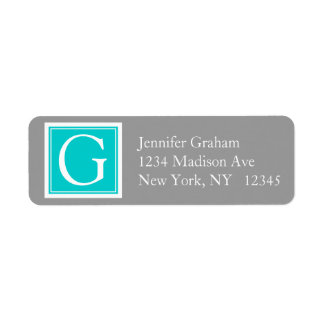 Monograma moderno simple gris del trullo etiquetas de remite