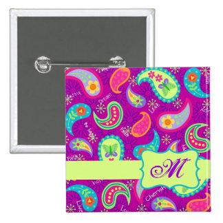 Monograma moderno verde púrpura magenta de Paisley Pin Cuadrado