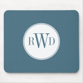 Monograma Mousepad de la tela a rayas del azul de