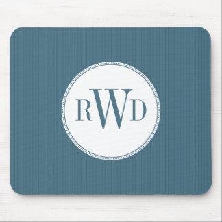 Monograma Mousepad de la tela a rayas del azul de  Tapetes De Raton