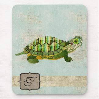 Monograma Mousepad de la tortuga del jade