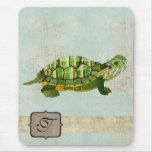 Monograma Mousepad de la tortuga del jade Alfombrillas De Ratones