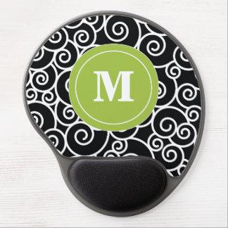 Monograma Mousepad del remolino del negro de la Alfombrilla De Ratón Con Gel