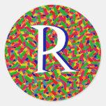 Monograma multicolor del confeti etiquetas redondas