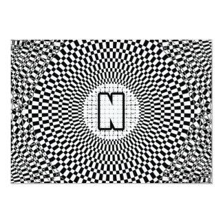 """Monograma N de la ilusión óptica Invitación 5"""" X 7"""""""