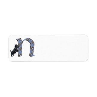 Monograma N de Terrier del escocés Etiquetas De Remite