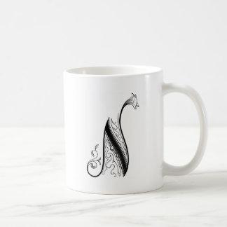 Monograma N del vintage en blanco y negro Taza De Café