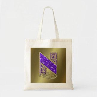 Monograma N púrpura Bolsa Tela Barata