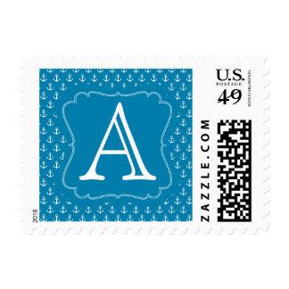 Monograma náutico azul de las anclas de la envio