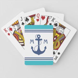 Monograma náutico del ancla baraja de póquer
