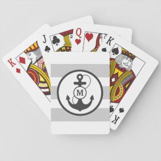Monograma náutico del ancla baraja de cartas