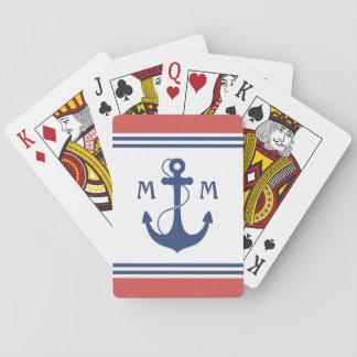 Monograma náutico del ancla cartas de póquer