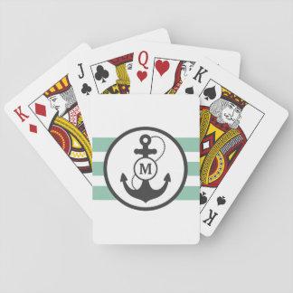 Monograma náutico del ancla barajas de cartas