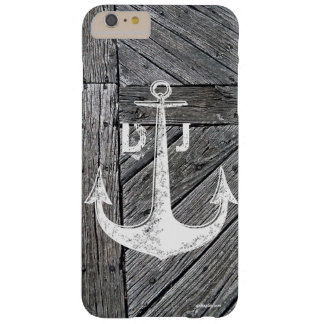 Monograma náutico del ancla de madera rústica del funda para iPhone 6 plus barely there