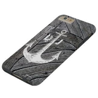 Monograma náutico del ancla de madera rústica del funda de iPhone 6 plus tough