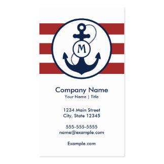 Monograma náutico del ancla plantilla de tarjeta de negocio