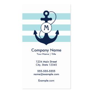 Monograma náutico del ancla tarjetas de visita