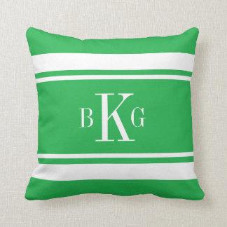 Monograma náutico verde del personalizado de las almohadas