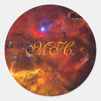 Monograma - nebulosa NGC 2467 de la emisión en Pegatina Redonda