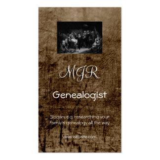 Monograma, negocio de la genealogía, cuero-efecto plantilla de tarjeta de visita