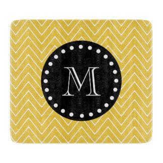 Monograma negro amarillo del modelo el | de tablas de cortar