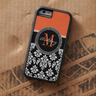 Monograma negro anaranjado del modelo del damasco funda de iPhone 6 tough xtreme