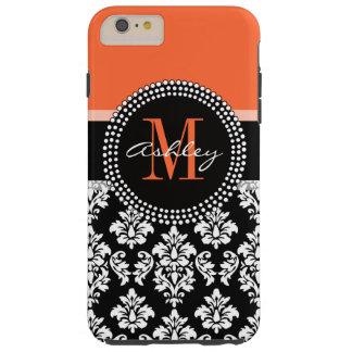 Monograma negro anaranjado del modelo del damasco funda para iPhone 6 plus tough