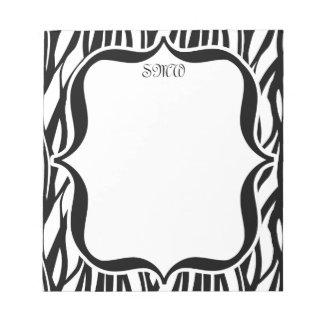 Monograma negro/blanco enrrollado de la cebra blocs de papel