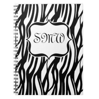 Monograma negro/blanco enrrollado de la cebra libreta espiral