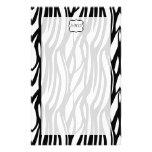 Monograma negro/blanco enrrollado de la cebra  papeleria de diseño