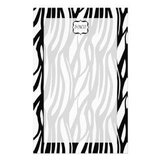 Monograma negro/blanco enrrollado de la cebra personalized stationery