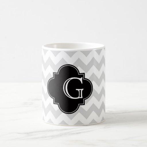 Monograma negro blanco gris claro de Chevron Quatr Tazas