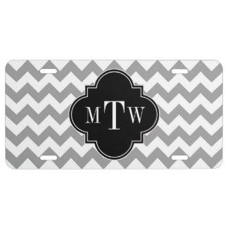 Monograma negro blanco gris de Chevron Quatrefoil Placa De Matrícula
