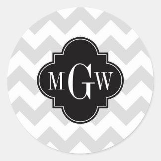 Monograma negro blanco gris de Lt Chevron Pegatina Redonda