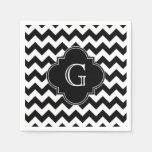 Monograma negro blanco negro de Chevron Quatrefoil Servilletas Desechables