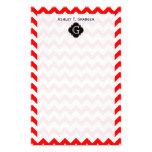 Monograma negro blanco rojo brillante de Chevron Q Papelería Personalizada