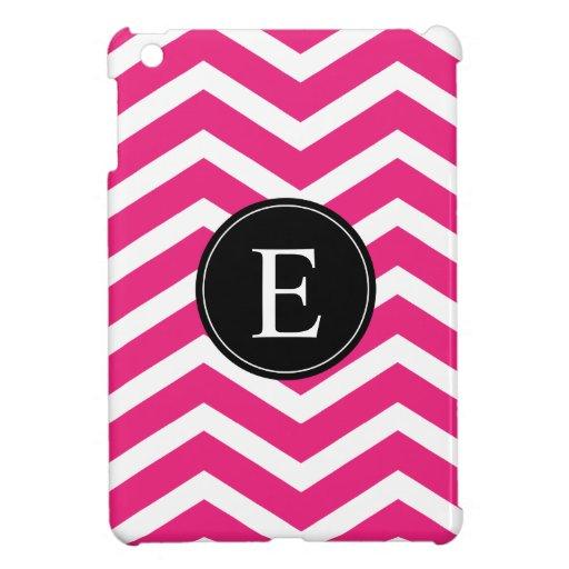 Monograma negro blanco rosado de Chevron iPad Mini Cárcasa