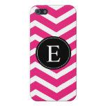 Monograma negro blanco rosado de Chevron iPhone 5 Protectores