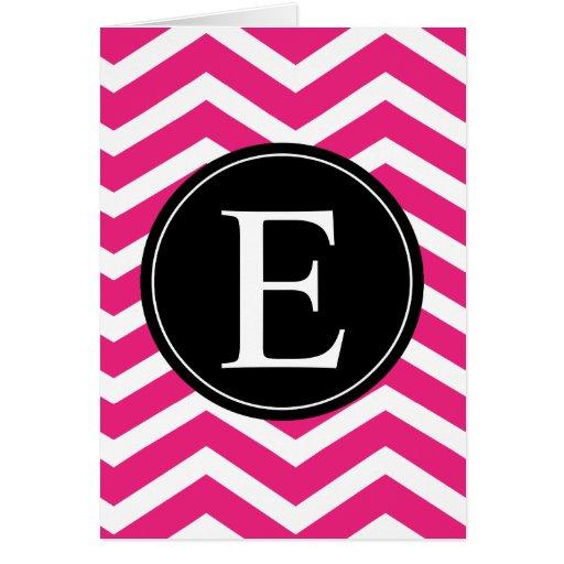 Monograma negro blanco rosado de Chevron Tarjeta De Felicitación