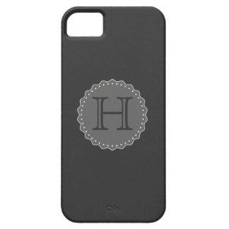 Monograma, negro, caja gris iPhone5 Funda Para iPhone 5 Barely There