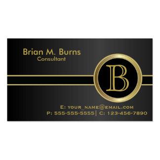 Monograma negro clásico ejecutivo tarjetas de visita