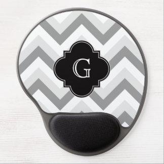 Monograma negro de Chevron del Lt dos blanco gris Alfombrillas De Raton Con Gel