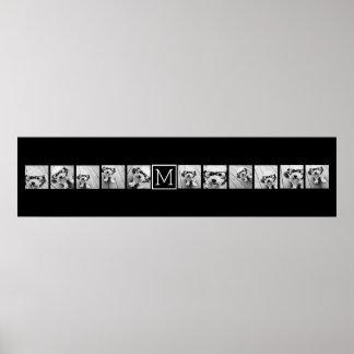 Monograma negro de encargo del collage de póster