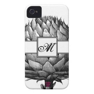 Monograma negro de la alcachofa y blanco vegetal d iPhone 4 cárcasa