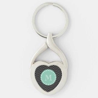 Monograma negro de la verde menta del modelo el | llavero plateado en forma de corazón