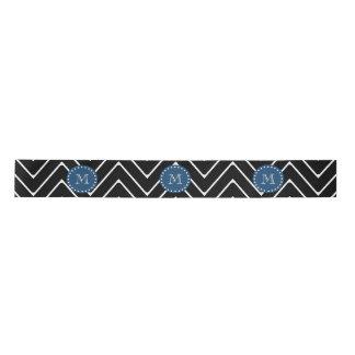 Monograma negro de los azules marinos del modelo lazo de raso
